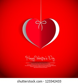 Paper hearts - I love you - Happy valentine's day - vector card