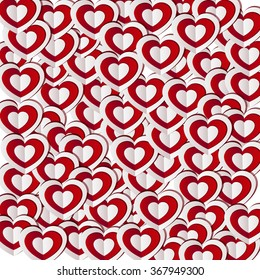 Paper hearts on a white background , Valentine's day holiday