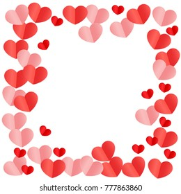 Paper Hearts Origamy Confetti Background.St. Valentine's Day pattern. Romantic Design Element. Love. Sweet Moment. Vector Illustration for Cards, Posters, Weddings, Birthday Party, Sales.