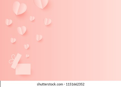 Paper Hearts out of the gift box with copy space on pink background. Vector Illustration, Mother's Day, Valentine's Day