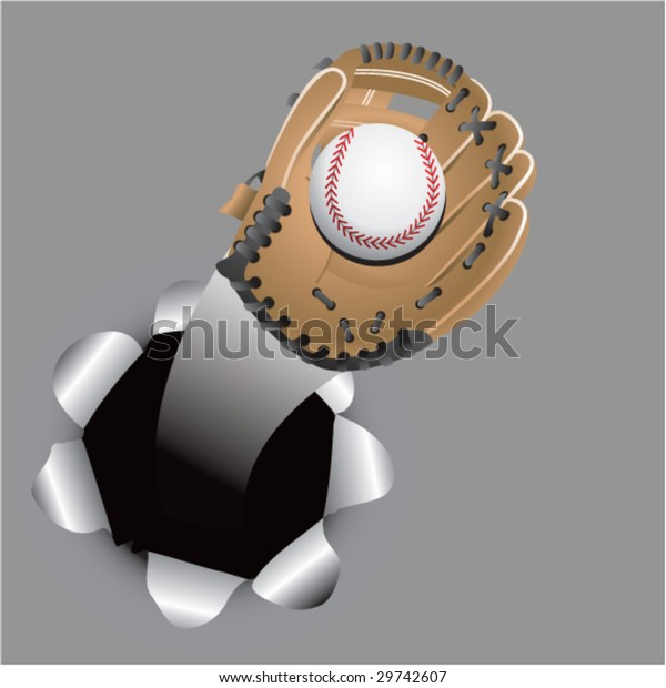 Paper Hole Popping Out Baseball Glove Stock Vector (Royalty