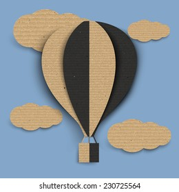 Paper hot air balloon with cloud ,Cardboard texture. Vector illustration