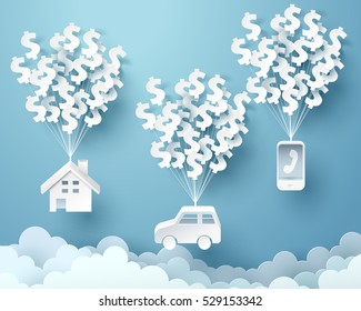 Paper house, car and mobile phone hanging with dollar sign balloon, business and asset management concept and paper art idea, vector art and illustration.