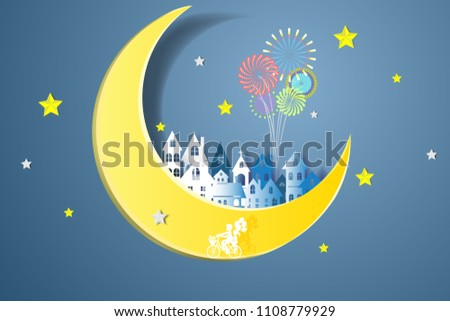 Paper House On Moon Celebration Origami Stock Vector Royalty Free
