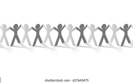 Paper human chain figures hand up in row graphic vector