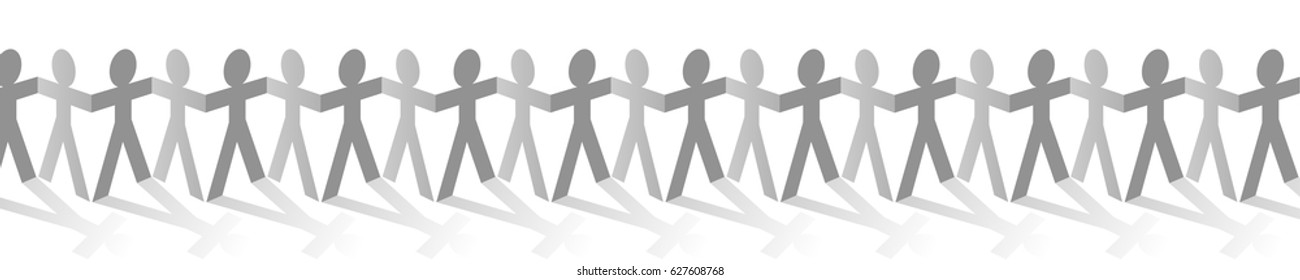 Paper human figures in a row graphic vector