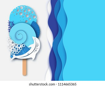 Paper ice cream made of dolphin, sea wave, coral and sea shell. Concept of summer beach vacation. Paper cut modern design