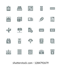 paper icon set. Collection of 25 filled paper icons included Coffee bag, Calendar, Magazine, Justify, Airplane, Contract, Thesis, Paper fan, Guillotine, Offer, Diploma, Cheque