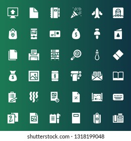paper icon set. Collection of 36 filled paper icons included Fax, Shopping bag, Notebook, Note, Jpeg, File, Cheque, Treasure map, Discount, Document, Confetti, List, Book, Mail