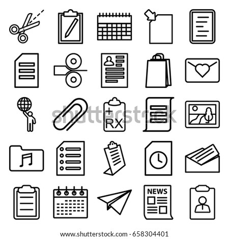 paper icons set set 25 paper stock vector royalty free 658304401 Resume for Coordinator Position paper icons set set of 25 paper outline icons such as resume clipboard