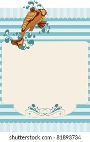Paper invitation with stripes and a carp. Textured paper with stripes and even a carp swimming against the currents and bubbles of water around them. For use on bottom or invitations or decorations.
