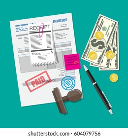Paper invoice form with seal. Pinned receipt bill. Pen. Coin and dollar cash. Seal. Tax payment, accounting, financial audit. Vector illustration in flat style