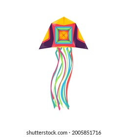 Paper kite in shape of jellyfish flying in sky isolated kids toy. Vector kite-balloon flown in wind, long strings at ends, outdoor summer activity object, Uttarayan International Kites Festival symbol