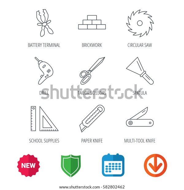 Paper knife, spatula and scissors icons. Circular saw, brickwork and drill tool linear signs. Multi-tool knife, rulers icons. New tag, shield and calendar web icons. Download arrow. Vector