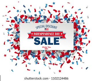 Paper label with confetti for Independence Day Sale. Eps 10 vector file.