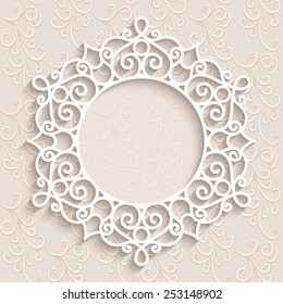 Paper lace background, vector round vignette, ornamental lacy frame, eps10
