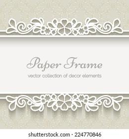 Paper lace frame over ornamental beige background, vector eps10