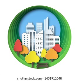 Paper landscape art style in autumnal city and park. Layered design outdoor recreation. Bench by the tree. Abstract circular background with skyscrapers and colorful trees.