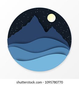 Paper landscape with hills, mountains, moon and stars. Ecology, world environment concept. Paper art modern style