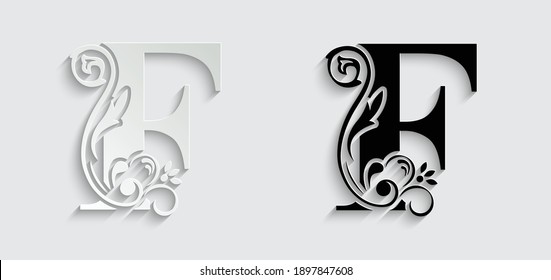 paper letter F. flower  letters. Vintage ornament initial Alphabet. Logo vector