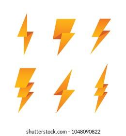 Paper lightning bolt icon set. Bright thunder, electricity, power symbol isolated on white background. Flash logo.
