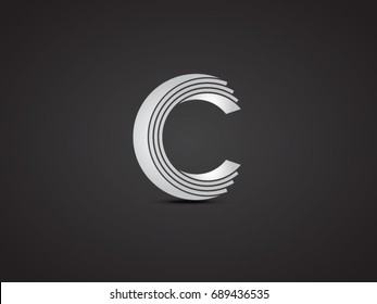 Paper look C letter vector icon