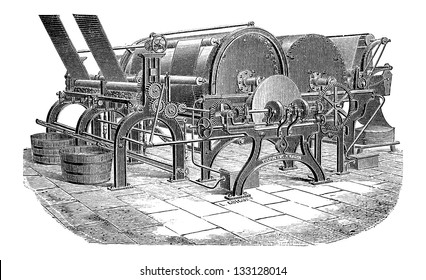 Paper Machine with Three Cylinders, vintage engraved illustration. Industrial Encyclopedia - E.O. Lami - 1875
