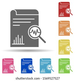 Paper, magnifier, analysis, report in multi color style icon. Simple glyph, flat vector of business icons for ui and ux, website or mobile application