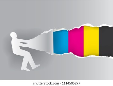 Paper male silhouette ripping paper with print colors. Concept for presenting color printing.Place for your text or image. Vector available.