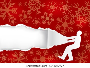Paper male silhouette ripping red Christmas Paper Background. Illustration of paper male silhouette with torn paper with snowflakes. Christmas promotion background.  Place for your text or image. Vec