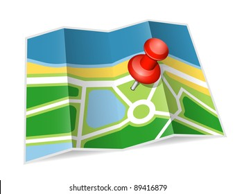 Paper map icon. Vector illustration