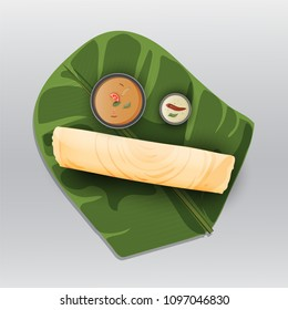 Paper Masala dosa, South Indian traditional meal served with sambhar and coconut chutney over fresh banana leaf.