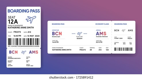 Paper and mobile boarding pass. Responsive design of air ticket. Airline data card mockup. Flight check-in document template. Vector illustration.