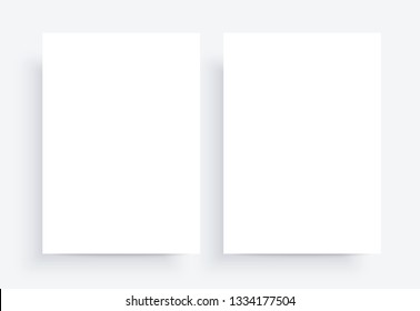 Paper Mockups. white blank template. Two sheet A4. Natural lighting. Photo-realistic vector illustration.