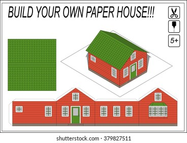 paper model house template paper model of cartoon house do it yourself isolated vector - Build Your Own Model House