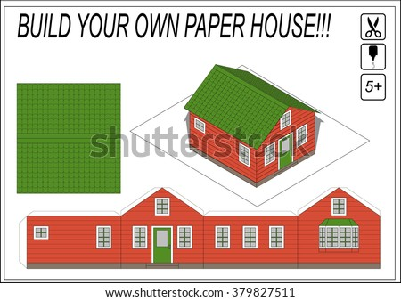 House building paper template | free printable papercraft templates.