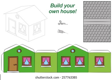 Paper Model House Template Paper model of a funny cartoon house with green walls, pink curtains and a grey roof. Isolated vector illustration on white background.