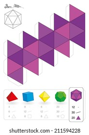 Paper model of an icosahedron, one of the five platonic solids, to make a three-dimensional handicraft work out of the pink triangle net. Below are all five with numbers of vertices, edges and faces.