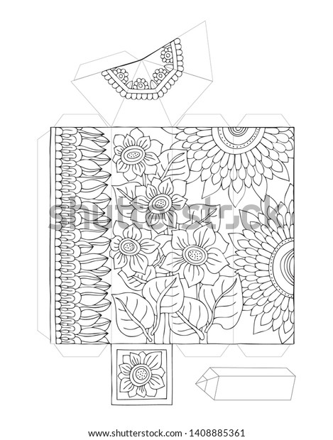 Paper Model Pencil Sunflowers Coloring Page | Royalty-Free ...