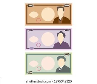 Paper money 1000 yen. 5000 yen. 10000 yen.