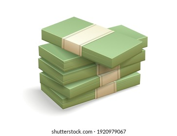 Paper money bundles pile of packs. Simple cartoon icon. Stock Vector illustration isolated on white transparent background.