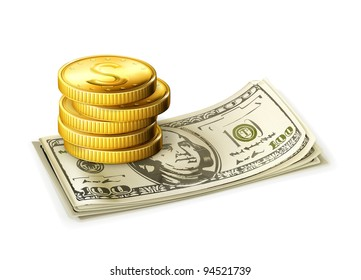 Paper money and coins, vector