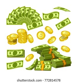 Paper money and gold coins in big amounts