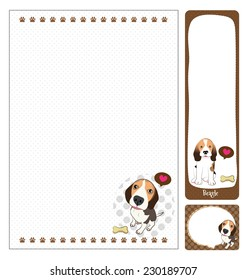 paper note beagle cartoon on brown and white background