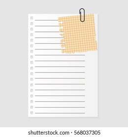 Paper note sheet for message vector illustration.