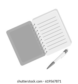 Paper notebook detective. Notepad to record readings, to solve the crime.Detective single icon in monochrome style vector symbol stock illustration.
