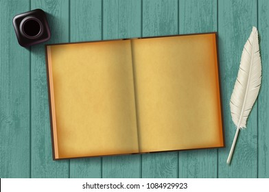 Paper notepad and feather with an inkwell on a wooden table. Vintage retro background. Blank old diary for writing. Stock vector illustration.