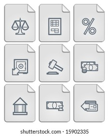 Paper notes finance icons set. Vector.