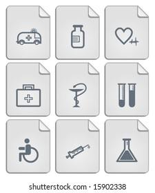 Paper notes medicine icons set. Vector.