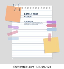 paper notes with notepad and sticky tapes, vector, illustration blank notepaper.